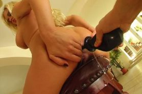 Stacy gets fucked in the rear and white cum oozes out