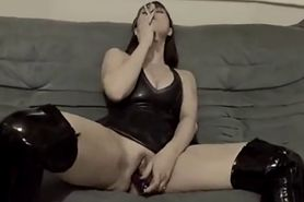sexy wife in boots plays with dildo then fucks