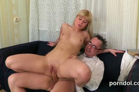 Cute college girl was teased and drilled by her elderly teacher