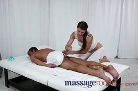 Massage Rooms Young girl has big boobs covered in hot cum after oily fuck