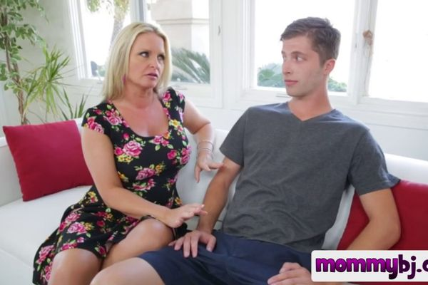 Blonde MILF with big tits gives a blowjob after consoling her daughter  732359