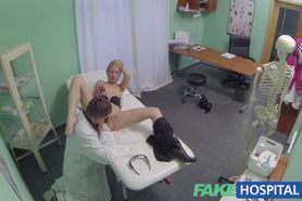 horny doctor gives sexy slim blonde multiple orgasms