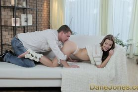 Natural young girl enjoys foreplay before passionate romanti...