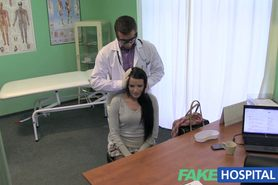 Beautiful patient prescribed a good wet fucking on desk as cure