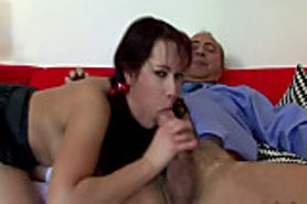 Big titted babe sucking and fucking for this old guy