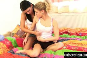 Nasty lesbian teens toy pussies