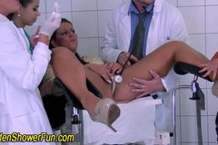 Slut pissing at gyno and pissed on