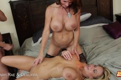 Alanah Rae and Deauxma take turns sucking and blowing cock