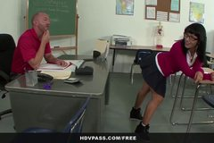 Latina girl Liv Aguilera sucks and fucks her teacher after class