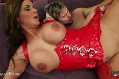 Brunette Phoenix Marie Gets Fucked In Red Leather!