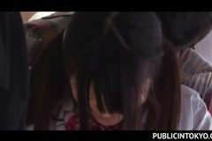 Nasty Asian sex in the train with busty school girl finger fucked