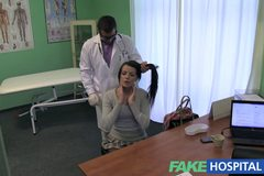 Stiff neck followed by a big stiff cock as fucked on doctors desk
