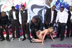 White babe eating big black dicks