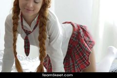 Braided redhead European schoolgirl teen in fantasy threesome