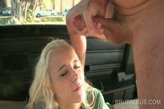 Blonde nasty amateur gets facialized after sex in bus