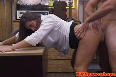 Pawnbroker brunette fucked on camera