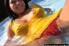 Teen Allisa fuck dildo at poolside