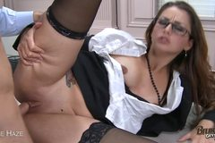 Sexy Brunette Is An Amazing Cocksucker And Gets Fucked Ip Her Skirt!