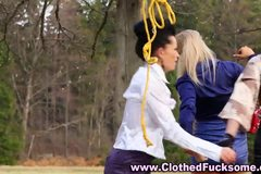 Stockings euro lesbos toy and lick