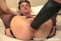 Amateur wife fisted and fucked with a giant dildo
