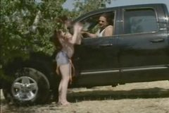 naked girl seduces and fuck trucker in his truck