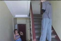 Russian Janitor fucked by mature woman