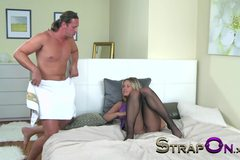 StrapOn Anal creampie for passionate girl after both her wet holes are filled DP