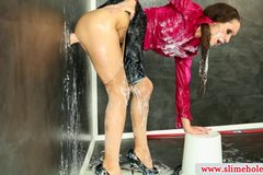 Bukkake lesbians at the gloryhole getting drenched
