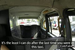 Busty blonde amateur banging in fake taxi