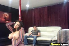 Busty Latina Stripshows and gives Head HD