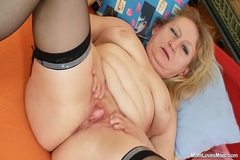 Dirty old grandma pussy spreading and masturbating