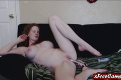 Hot redhead MILF fucks her tight asshole on webcam