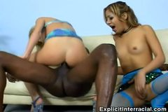 No Sound: Threesome Interracial Blondes