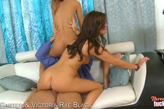 Sexy Brunettes And Blonde Play With Each Other Before Getting Fucked