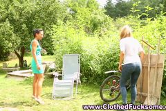 Clothes lesbians outdoor pussy play