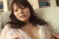 Japanese girl with huge tits fingered, fucked and creampied - uncensored
