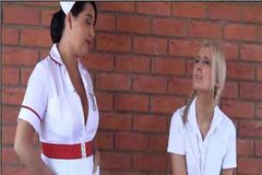 Busty nurse seducing the innocent schoolgirl