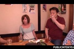 Sexy Japanese babe drinking in a bar gets fucked in gangbang
