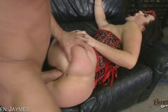 Hot Brunette Shows Off Her Assets Before Sucking And Fucking COCK!