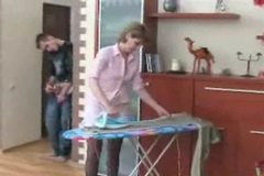 Milf Mom fucked doggystyle by boy while doing housework