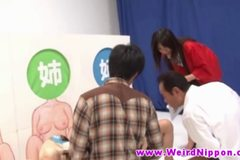 Oriental teens fucked in kinky game show