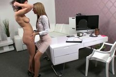 Busty brunette ad female agent fingering in office