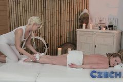 Teen lesbians enjoy oily massage and deep finger fun