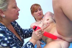 Old chubby granny and young girl enjoying with dildo