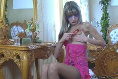 Horny Gina Loves Touching Herself All Over