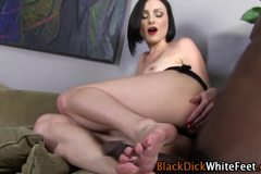 Interracially fucked feet cummed on