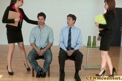 Fiesty cfnm babe Brooklyn Lee bj action