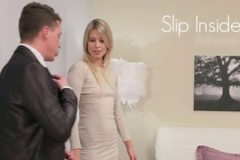 Hot small tits blonde MILF fucked in bed