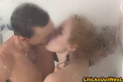 Real couple showering naked