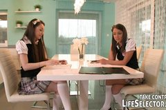 Schoolgirls make up for missing homework